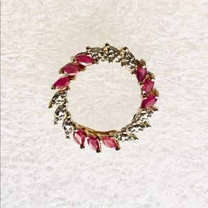 Gold Sterling Ruby Circle Pendant